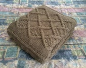 SALE: Chunky Hand Knit Double-strand Blanket, Taupe 56x62.