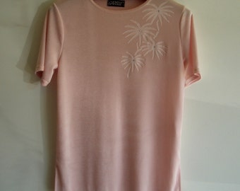 Vintage Sweater, Short Sleeve Stretchy Top, Pale Pink Blush, Palm Tree / Leaves Design, Size US 8  UK 12, 1960s Retro Clothes, Free Shipping