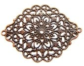 10 Metal filigree stampimg antique copper jewelry findings stamped medallion victorian style openwork lace 44mm x 34mm 134R
