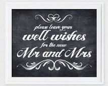 leave your well wishes chalkboard sign - printable file - wedding sign wishing well, guest book sign, reception sign, wedding guestbook, diy
