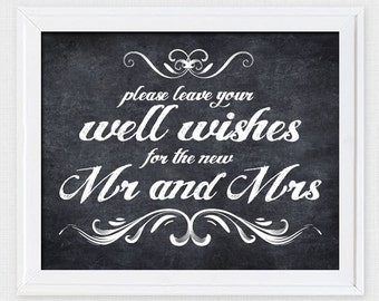 leave your well wishes chalkboard sign - printable file - wedding sign wishing well