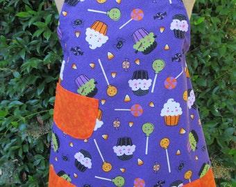 Handmade child's purple and orange cupcake apron