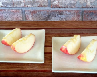 Handmade Lanzhou Bailan Melon Honey Dew Melon Square Ceramic Sushi Plate Set with Dipping Bowls
