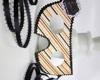 Black White and Orange Stripes Halloween Masquerade Ball Mask