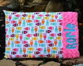 Night Owl Minky Pillow / Pillow case - Sorbet Pink Minky -  Personalized - Baby Girl, Teen, Adult - Standard or Toddler Size