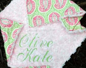 Baby Girl Blanket Paisley Belle Henne Baby Pink Minky Swirl Personalized Blanket