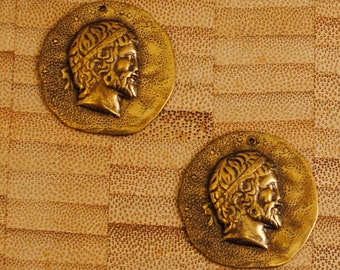 Two Vintage 30mm Antiqued Brass Roman Coin Pendants