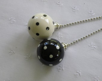 Black & White Polka Dots - Set of 2 - Pottery Ball Ceiling Fan Pulls - Handmade in the USA - Nickel or Brass Hardware