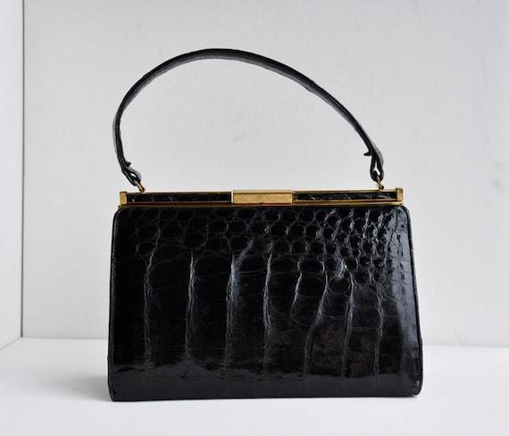 Vintage Designer Crocodile Leather Bellstone Handbag 60s Madmen Purse Joan Madmen
