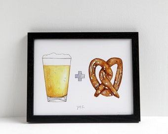 Beer and Pretzel Print