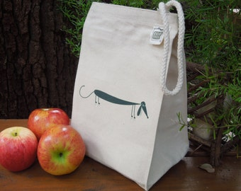 Recycled cotton lunch bag - Canvas lunch bag - Gender neutral lunch bag - Dachshund