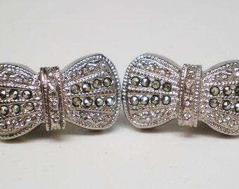 Vintage Marcasite Gemstone Bow Earrings Steel Cut  Clip Retro Bride Art Deco Minimalist Mod Modern Mid Century Statement