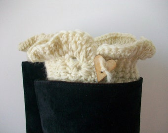 Boot cuffs Ivory wool with Wooden heart shaped button trim Ruffled edge Boot bling