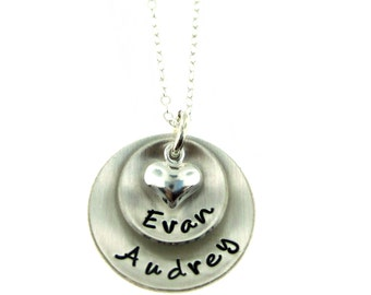 Hand Stamped Jewelry  Two Pendants Domed Hand Stamped Personalized Sterling Silver Necklace for Mom