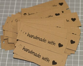 "Handmade with Love Tags (100) Heart Kraft Brown Labels 2"" x 3/4"" Packaging Gift Tags Seller Supplies Kraft Tags Mini Tags Handmade Tags"