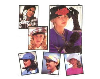 1990s Hats and Gloves Pattern Floppy Hat Brim Beret Baseball Cap Retro 90s Accessories Simplicity 7932 Vintage Sewing Pattern