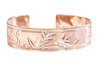 Rose gold bracelet, Zen, Rose Gold cuff, cuff bracelet, Rose gold, rose gold bangle, floral bracelet, orchids, rose gold jewelry, modern