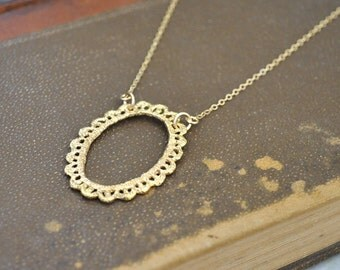 gold filled jewelry necklace - VINTAGE LACE - vintage style solid cast brass lace necklace with 14k gold filled chain bridesmaid jewelry