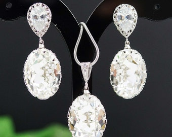 Bridal Necklace Bridal Earrings Clear White Swarovski Crystal Oval drops Bridal Jewelry Set