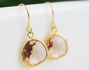 Peach Glass dangle Earrings drop Earrings - Bridesmaid gift, Bridesmaid Earrings, Bridesmaid Jewelry, Wedding, Christmas gift for her