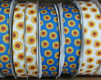 "1 yard - 22mm (7/8"")/38mm (1.5"") wide white/royal blue sunflower grosgrain floral ribbon"