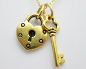 Heart Lock and Key Necklace, Gold Heart Shaped Lock and Key Charms, Vintage Style Lock and Key, Skeleton Key Necklace B035