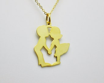 Sweet Kissing Couple Necklace (B009). Gold Plated Brass Charm Necklace.