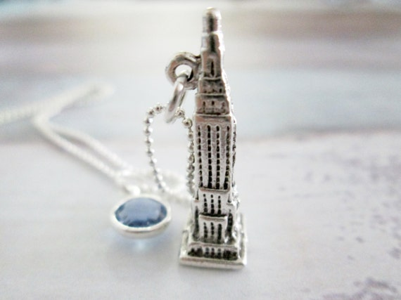 empire state building necklace a045 sterling silver plated