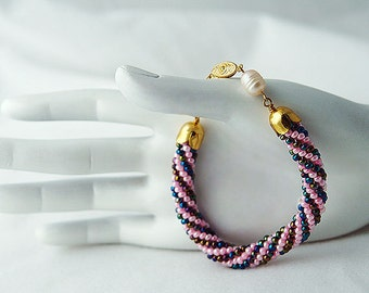 Crochet  Bracelet with Pearls Sunset on the beach