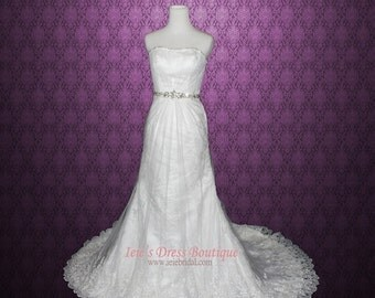Strapless A-line Lace Illusion Wedding Gown
