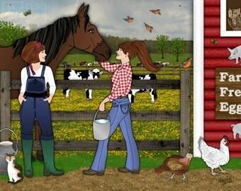 farm art, Farmers Daughters, barnyard animals, horse chicken cow, nursery decor, childrens illustration, sisters art print, country home