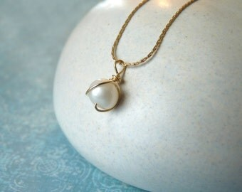 Christmas Sale: Floating Pearl Necklace - Simple Pearl Necklace with a Gold Filled Chain | Christmas Gift