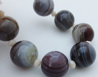 12mm Botswana Agate Gemstone Beads Qty 7