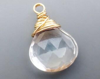 Crystal Quartz Goldfilled Briolette Charm Qty 1