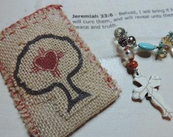 Cross, Cross Pouch, Prayer Beads, Meditation Beads, Prayer Pouch, Religious,Healing Bible Verse, Rosary Style, Amulet,Spiritual, Gift Item