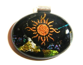 Dichroic  Fused Glass Pendant, Catching Some Rays, P21