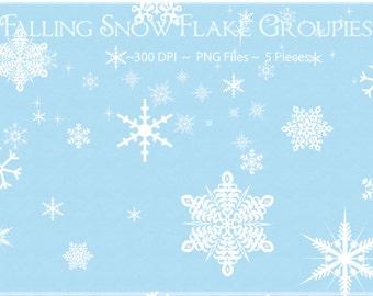 Snowflake Clipart, Falling Snowflake Clipart, Winter Clipart, Snow Clipart, Snowflake