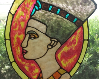 Queen Nefertiti Stained glass window Cling