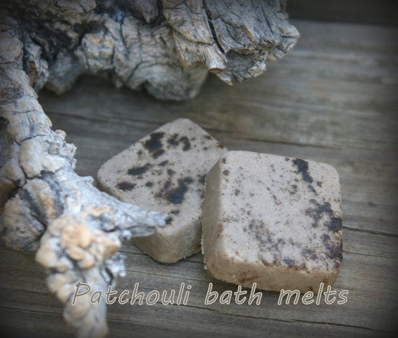 Organic Patchouli Bath Melt Truffle set of 2 natural vegan with moisturizing Cocoa and Shea butters