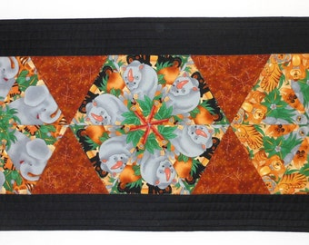 Animal print quilted table runner