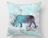 Rhino throw pillow cover and pillow insert