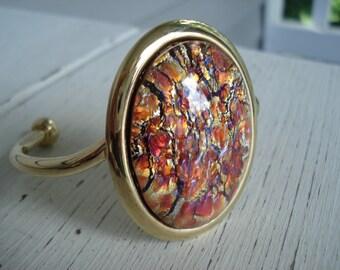 Vintage Topaz Opal Glass Gold Cuff Bracelet Woodland Autumn