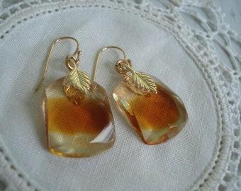 Vintage Antique Art Deco Topaz Givre Glass Pendant Prism Drops Earrings Autumn Fall