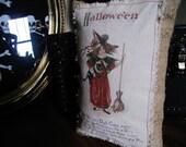 Vintage Halloween Postcard Print Burlap Pillow