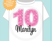 Tenth Birthday Shirt, Pink 10 Birthday Shirt, Any Age Personalized Girls Birthday Shirt Pink Age and Name Tee for kids (10282013c)