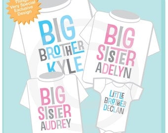 Set of Four, Big Brother, Two Big Sisters and a Little Brother  Tee Shirts or Onesies