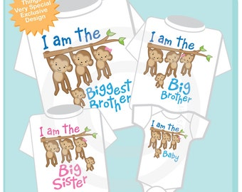 Set of Four Sibling Monkey Shirt and Onesie Set, I am the Biggest Brother Shirt, Big Brother, Big Sister and Baby (03022015a)