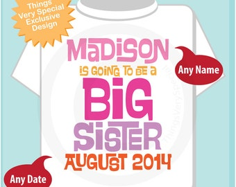 Girl's Personalized Pink and Purple Big Sister Shirt or Onesie, Infant, Toddler or Youth with Due Date and Name (02062014g)