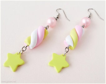 Kawaii Marshmallow Earrings with Pastel Yellow Star Charms, Surgical Steel Hooks - Fairy Kei, Sweet Lolita