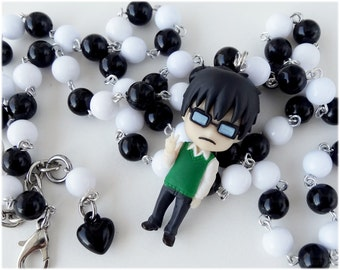 Sket Dance Switch Necklace, Beaded Rosary Chain, Black and White - Anime Jewelry, Kawaii